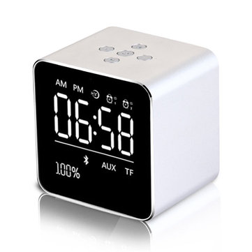 Loskii HC-25 2 in 1 Rechargeable Mirror LCD Screen Mini Blue Speaker Alarm Clock Support AUX TF Card