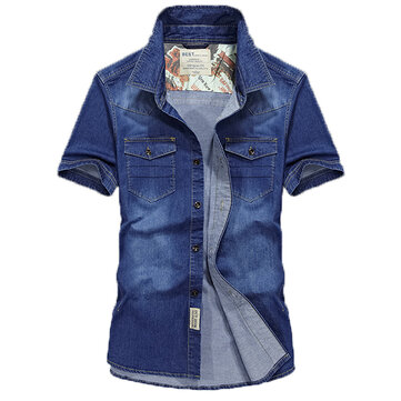 Mens Turn Down Collar Cotton Summer Cargo Work Denim Shirt