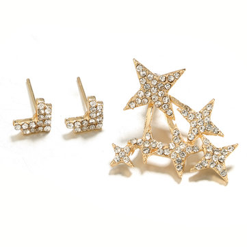 Statement Full Rhinestone Arrows Stars Gold Stud Earring Punk Party Jewelry for Girl Women