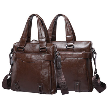 BANZU Men PU Leather Handbag Laptop Bag Single Shoulder Crossbody Messenger Bag