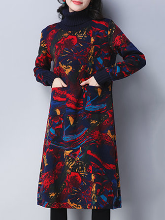 Vintage Women Printed Turtleneck Long Sleeve Thicken Dresses