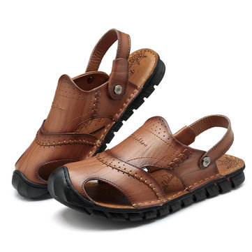 Men Genuine Leather Comfy Two Way Wear Sandals