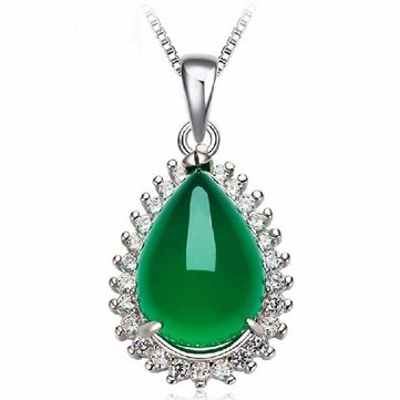 925 Silver Waterdrop Chalcedony Zircon Necklace Pendant