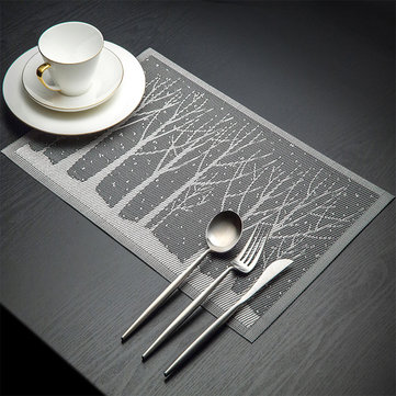 KCASA Placemat Fashion Pvc Dining Table Mat Disc Pads Bowl Pad Coasters Waterproof Table Cloth Pad Slip-Resistant Pad Tree Shape