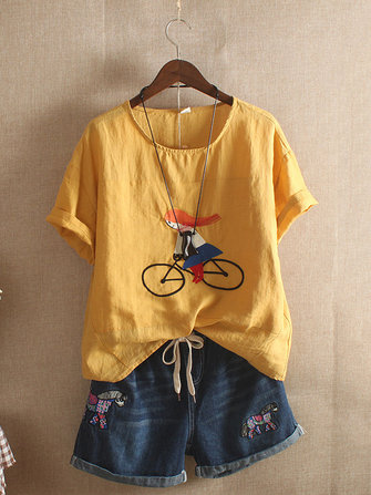 Women Cartoon Embroidery Vintage T-shirt