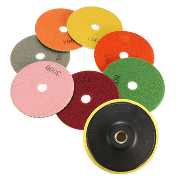 7pcs 4 Inch Diamond Polishing Pads With Backer Pad For Granite Tile Marble Concrete Stone