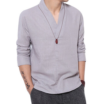 V-neck Minimalist Vintage Style Loose Comfy Linen Shirts for Men