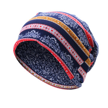 Women Flowers Printing Cotton Beanies Cap Casual Warm Bonnet Hat Double Use Collar Scarf