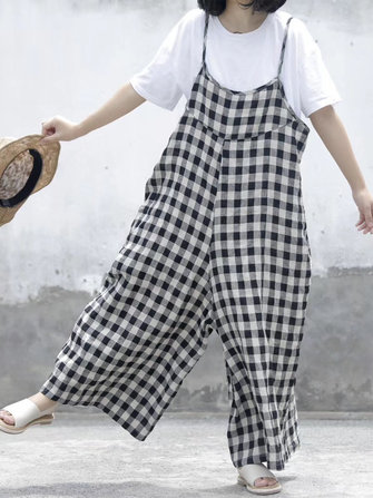 Women Sleeveless Strap Loose Casual Plaid Jumpsuit
