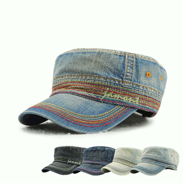Men Women Vintage Cadet Solid Cotton Embroidery Plain Flat Peaked Caps Military Hat
