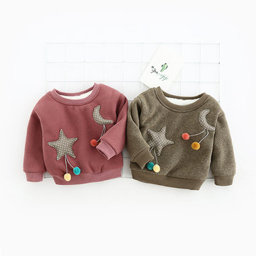 Cute Baby Cartoon Star Moon Pattern Thicken O-Neck Sweater