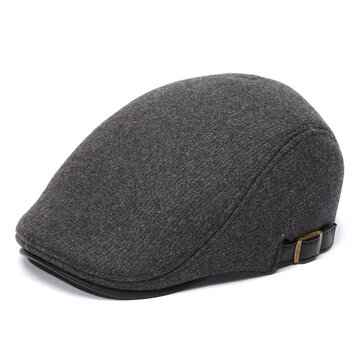 Mens Winter Warm Woolen Beret Hat Adjustable Casual Cabbie Hats