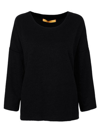 Casual Loose Women Solid Asymmetrical Hem Pullover Sweater