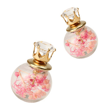 Trendy Ear Stud Double Color Baby's Breath Glass Ball Flower Earrings