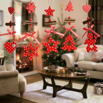 Christmas Tree Ornaments Wood Snowflake Heart Star Bell Party Home Christmas Decor Navidad Decoration Wind Chimes