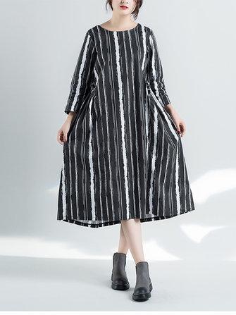 Irregular Vertical Stripes Women Dress A Line Pullover Long Sleeve Dresses