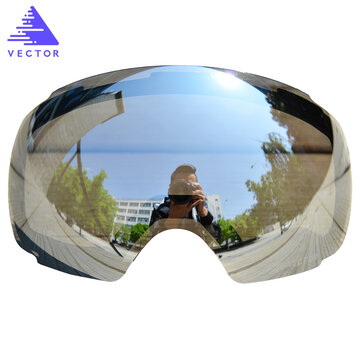 VECTOR Ski Goggles Replaceable Plus Lens Red UV400 Anti Fog Snow Skiing Glasses