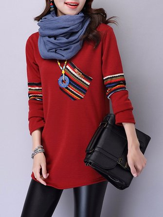 Casual Women Round Neck Printed Patchwork Velvet T-shirt