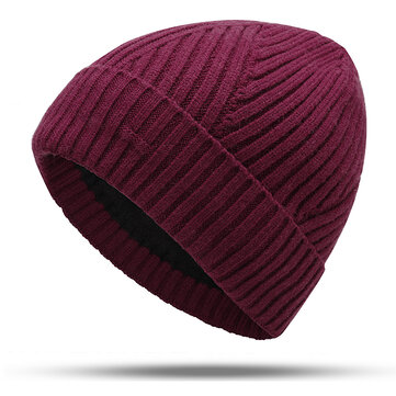 Mens Winter Plus Velvet Stripe Knitted Hat Warm Brimless Hat