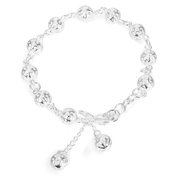 Sweet Silver Plating Hollow Out Beads Chain Bracelet Women Jewelry