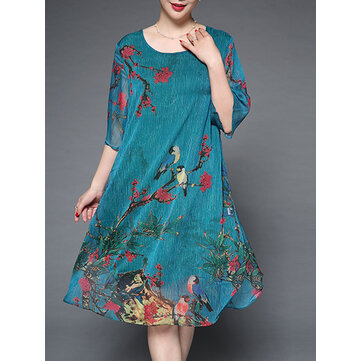 Plus Size Elegant Women Chiffon Floral Dress