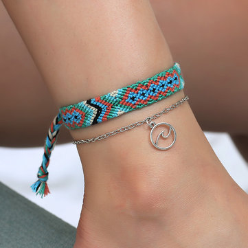 Bohemian Handmade Charm Anklet Fashion Braided Rope Hollow Geometric Pendant Anklet Jewelry For Girl