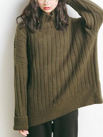 Plus Size Casual Women Batwing Sleeve Turtleneck Sweaters