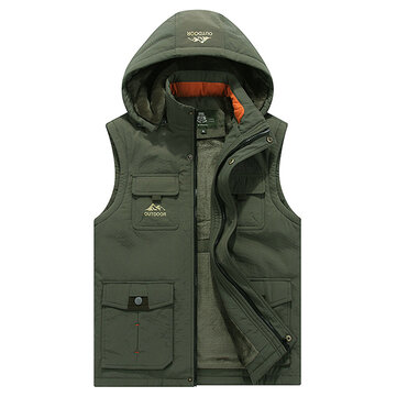 Mens Casual Outdooors Thick Fleece Warm Multifunctions Loose Hooded Vest Sleeveless Coat