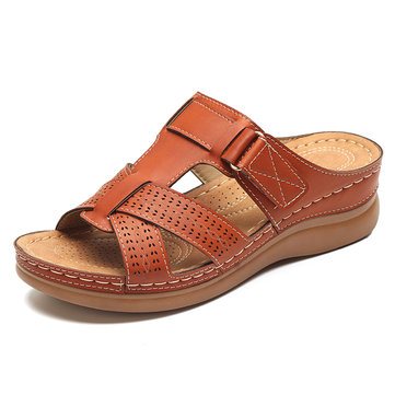 LOSTISY Women Comfy Hollow Out Hook Loop Wedges Sandals