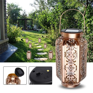 Solar Powered Vintage Metal LED Lantern Light Outdoor Garden Landscape Yard Lamp