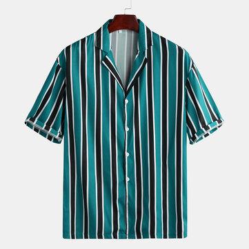 Mens Summer Botones Fly Stripe Camisas casuales de manga corta suelta