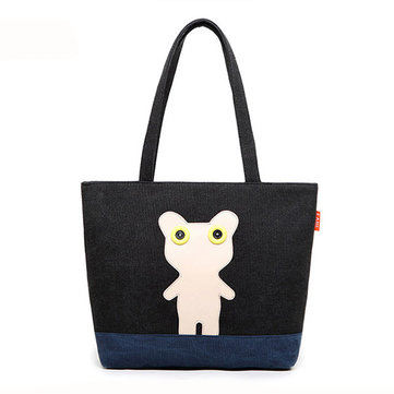 Women Canvas Cartoon Animal Tote Bags Casual Shoulder Bags Large Capcity Shopping Bags