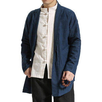 TWO-SIDED Mens Chinese Style Mid Long Vintage Cotton Cloak