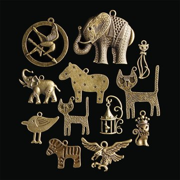 12Pcs Chinese Zodiac Vintage DIY Antique Bronze Pendant Decor Multi-Styling Metal Animal Ornaments