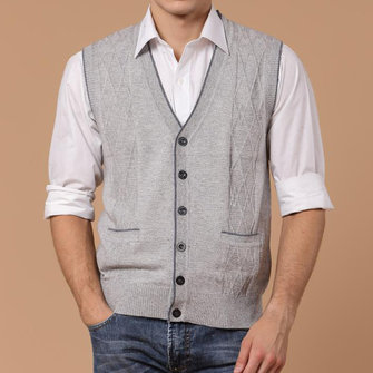 Men Fall Winter Woollen V-neck Solid Color Warm Cardigan Waistcoat Vest Knit Sleeveless Sweater