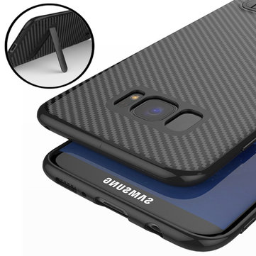 Bakeey™ Kickstand Bracket Ultra Thin Carbon Fiber Soft TPU Case for Samsung Galaxy S8 5.8 Inch