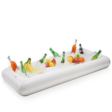 Inflatable Float Beer Summer Water Pool Party Ice Bucket Tray Food Drink Holder 24.5*51.5*5.5inch