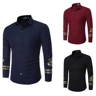 Mens British Casual Style Fashion Cuff Printing Turn-down Collar Casual Shirts
