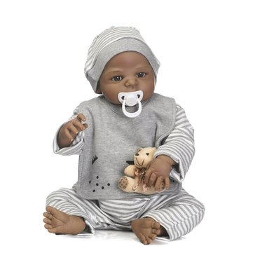 NPK 57CM Full Body Silicone Black Boy Reborn Baby Doll Soft Bear Children Bathe Playmate Toys