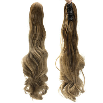 22'' Ombre Dip Dye Claw Tail Ponytail Clip Hair Extension Curly Wavy Style