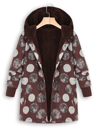 S-5XL Women Winter Hooded Polka Dot Printed Vintage Outwears Coats