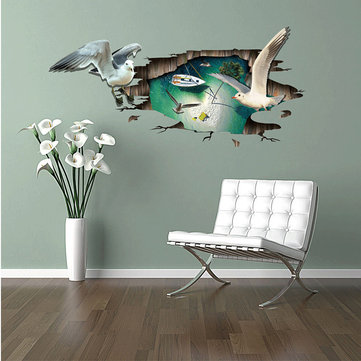 Miico Creative 3D Sea Gull Animal Removable Home Waterproof Decorative Wall Floor Decor Sticker