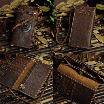 Men Cowhide Leather Phone Bag Long Wallet Case Biker Chain Checkbook Card Holder Purse Clutch