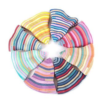 Women Folding Rainbow Striped Basin Cap Fisherman Hat Summer Beach Sunshade Bucket Hat