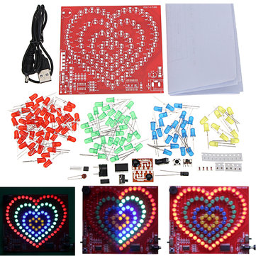 Heart Shaped 4 Circle Love DIY LED Flash Kit Electronic Production Training Soldering Kit