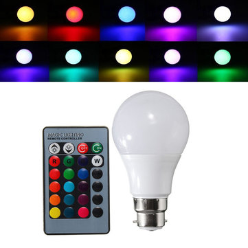 B22 3W Dimmable RGB Color Changing LED Light Lamp Bulb Remote Control AC85-265V