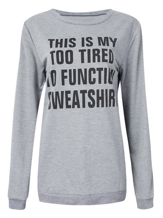 Casual Gray Letter Printed Pullover Sweatshirt For Women