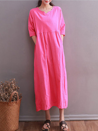 Women Half Sleeve Loose Pure Color Maxi Dresses