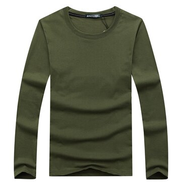 Simple Style Casual Cotton Solid Color O-neck Plus Size Base Tees Long Sleeve Spring Autumn T-Shirts