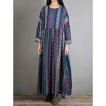 M-5XL Folk Style Bohemian Geometry Print Long Sleeve Vintage Dresses